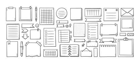 Hand drawn memo paper sheets, sticky note, reminder, to do list, sticky tape and arrows. Bullet journal elements in doodle style. Vector illustration in white background. Illusztráció