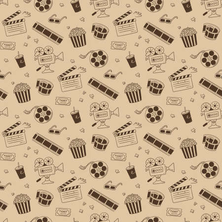 Hand drawn cinema seamless pattern with movie camera, clapper board, cinema reel and tape, popcorn in striped box, film ticket and 3d glasses. Vector illustration in doodle style on sepia background.