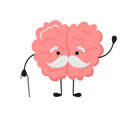 A kawaii old brain character with a gray mustache and walking stick. Symbol of alzheimer disease, dementia and other age-related problems. Vector cartoon illustration isolated on white background.