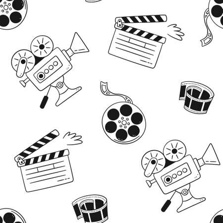 Hand drawn cinema seamless pattern with movie camera, clapper board, cinema reel and tape. Vector illustration in doodle style on white background. Illusztráció
