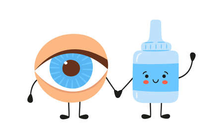 Kawaii human eye and medical drops characters. Medicine for the health of the eye. Treatment of conjunctivitis and dry eyes. Vector illustration isolated on white background in hand drawn style. Illusztráció