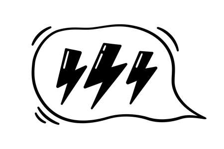 Hand drawn speech bubble with lightning. Vector illustration isolated in doodle style on white background. Illusztráció