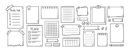 Hand drawn memo paper sheets, sticky note, reminder, to do list, sticky tape and pins. Bullet journal elements in doodle style. Vector illustration in white background.