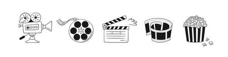 Hand drawn cinema set with movie camera, clapper board, cinema reel and tape, popcorn in striped box. Vector illustration isolated in doodle style on white background.