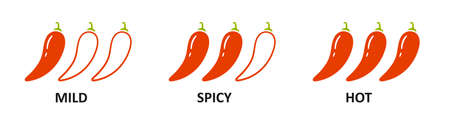 Spice level marks - mild, spicy and hot. Red chili pepper. Chili level icons set. Vector illustration isolated on white background. Illusztráció