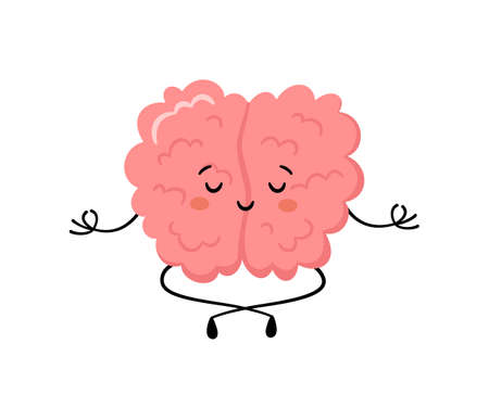 Cute human brain in yoga pose. Kawaii healthy brain character practicing yoga and meditates. Funny vector cartoon illustration isolated on white background
