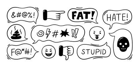Speech bubble with swear words. Cyber bullying, trolling, conflict and violence situation. Bad reviews, comments, dislike. Vector illustration isolated in doodle style on white background.