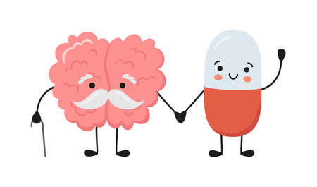 Old brain character and happy smiling medicine pill characters hold hands. Kawaii capsule and cute brain characters. Drug therapy. Vector isolated illustration on white background.