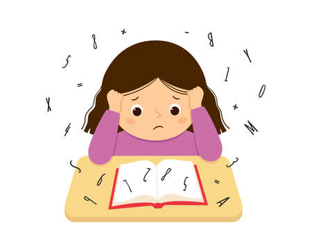 Child suffering with dyslexia and dyscalculia is having difficulty in reading a book. Stressed girl doing hard homework. Dyslexia disorder concept. Vector illustration isolated on white background. Illusztráció