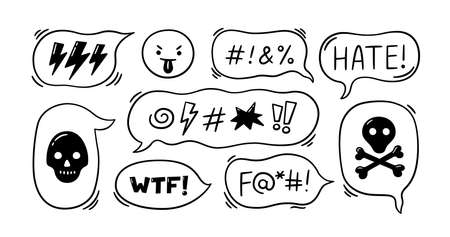Comic speech bubble with swear words symbols. Hand drawn speech bubble with curses, lightning, skull, bomb, bones. Angry face emoji. Vector illustration isolated in doodle style on white background. Illusztráció