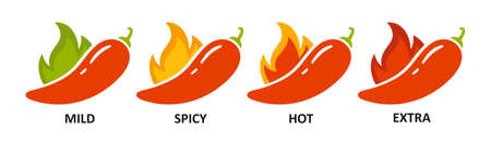 Spice level marks - mild, spicy, hot and extra. Green and red chili pepper. Symbol of pepper with fire. Chili level icons set. Vector illustration isolated on white background. Illusztráció