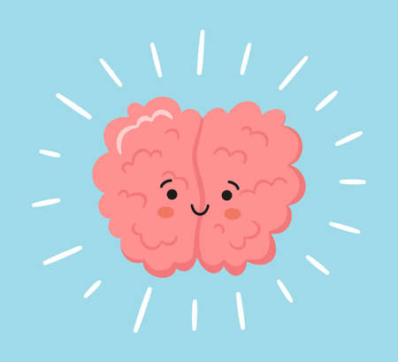 Kawaii happy human brain character. Hand drawn symbol of healthy mind. Vector cartoon illustration isolated on blue background with rays.