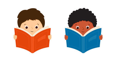 White european and black african american boys read books. Children hold books. Vector illustration isolated on white background.