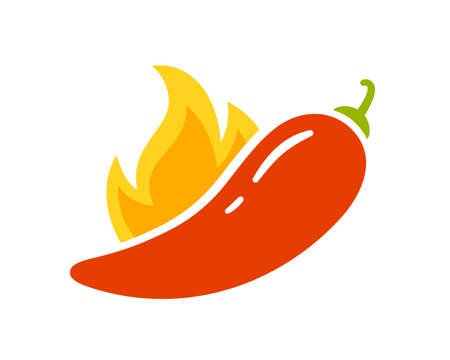 Spice level marks - spicy, hot or extra hot. Red chili pepper and flame. Symbol of pepper with fire. Chili level icon. Vector illustration isolated on white background. Illusztráció