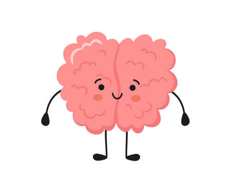 Kawaii happy human brain character. Hand drawn symbol of healthy mind. Vector cartoon illustration isolated on white background.