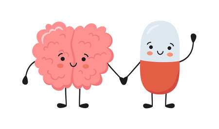 Healthy brain character and happy smiling medicine pill characters hold hands. Kawaii capsule and cute brain characters. Drug therapy. Vector isolated illustration on white background.
