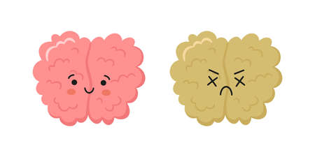 Kawaii happy human brain character and sad crying brain character. Hand drawn symbols of healthy mind and psychological disorder. Vector cartoon illustration isolated on white background.