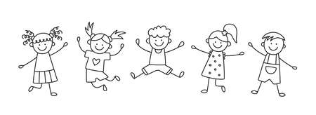 A group of happy jumping kids. Children jump together. Hand drawn children drawing. Vector illustration isolated in doodle style on white background.