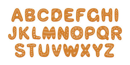 Alphabet of gingerbread cookies with sugar glaze. Cartoon alphabet for Christmas or New Year. Gingerbread holidays cookies set. Pastry font. Hand drawn vector illustration isolated on white background