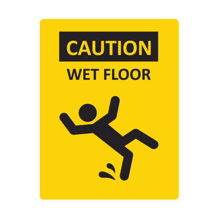 Caution wet floor sign. A man falling down. Slippery floor sign. A sign warning of danger. Vector illustration isolated on white background. Illusztráció
