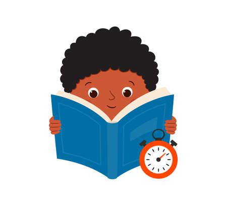 Speed reading. A black boy reads a book and measures the speed of reading. Vector illustration isolated on white background.