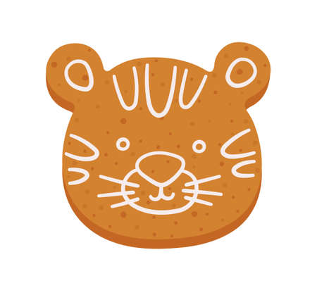 Cute gingerbread cookie in shape of tiger. Christmas or New Year cartoon ginger cookie. Hand drawn vector illustration isolated on white background. Illusztráció