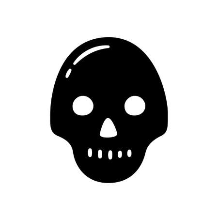 Black skull. Hand drawn symbol of pirates, poison, death, hell and anger. Vector illustration isolated in doodle style on white background. Illusztráció