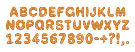 Alphabet of gingerbread cookies with glaze. Cartoon letters, numbers and marks for Christmas or New Year. Gingerbread holidays cookies font. Hand drawn vector illustration isolated on white background