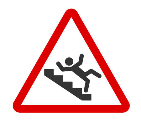 Caution stairway sign. A man falling down the stairs. A sign warning of danger. Slippery stairs icon in red triangle . Vector illustration isolated on white background.