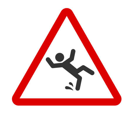 Caution wet floor sign. A man falling down icon in red triangle. Slippery floor. A sign warning of danger. Vector illustration isolated on white background.