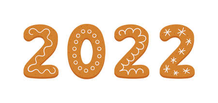 Gingerbread cookies in form of number 2022. Happy new year 2022 year banner. Gingerbread holidays cookies. Hand drawn vector illustration isolated on white background. Illusztráció