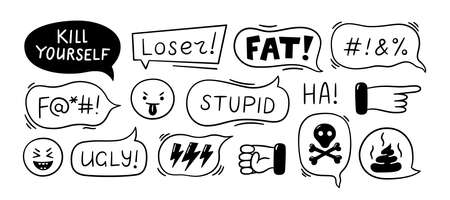 Speech bubble with swear words. Cyber bullying, trolling, conflict and violence situation. Bad reviews, negative comments. Vector illustration isolated in doodle style on white background. Illusztráció