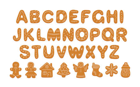 Alphabet of gingerbread cookies and decorated cookie shapes. Cartoon alphabet for Christmas New Year. Gingerbread man, woman, house, tree. Hand drawn vector illustration isolated on white background.