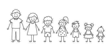 Happy doodle stick mans family. Set of hand drawn figure of family. Mother, father and kids. Vector illustration isolated in doodle style on white background. Illusztráció
