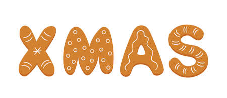 Gingerbread cookies in form of letters xmas. Merry Christmas banner. Gingerbread holidays cookies. Hand drawn vector illustration isolated on white background.