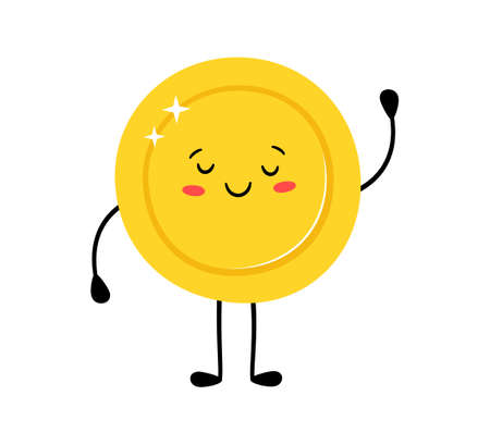 Cute gold coin. Funny vector cartoon characters. Happy winner. Vector cartoon illustration isolated on white background.