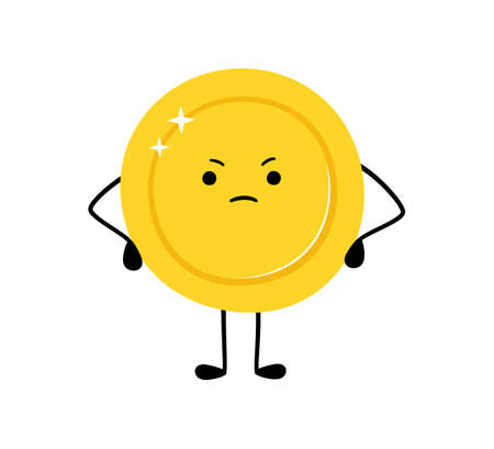Cute gold coin. Sad money coin character. Sad winner. Vector cartoon illustration isolated on white background. Illusztráció