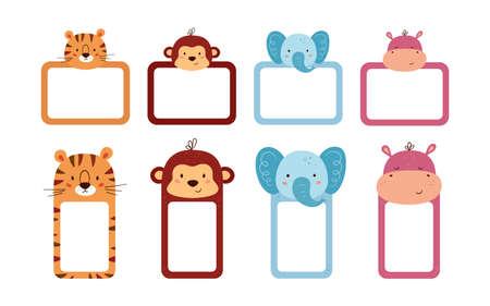 Set of cute photo frames and note paper decorated animal heads. Cute animals sheet templates for diary, timetable, memo. Box with space for text. Vector illustrations isolated on white background.