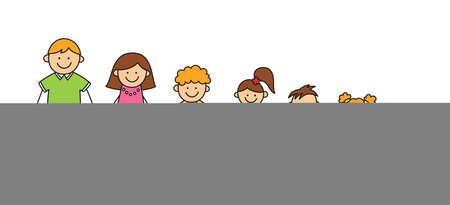 Happy doodle stick mans family. Set of hand drawn figure of family. Mother, father and kids. Vector color illustration isolated in doodle style on white background.