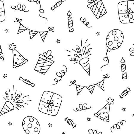 Seamless pattern with Happy Birthday doodles. Sketch of party decoration, gift box and balloons. Children drawing. Hand drawn vector illustration on white background.