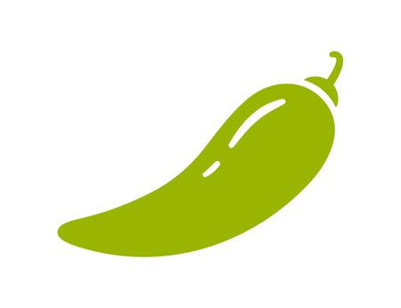 Green chili pepper. Chili level icon. Spice level mark - mild. Vector illustration isolated on white background.