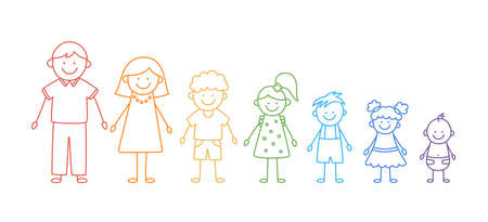 Happy doodle stick mans family. Set of hand drawn figure of family in colors of rainbow. Mother, father and kids. Vector illustration isolated in doodle style on white background.