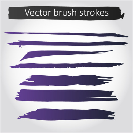 paint brush stroke: Set of vector straight purple ink pen strokes