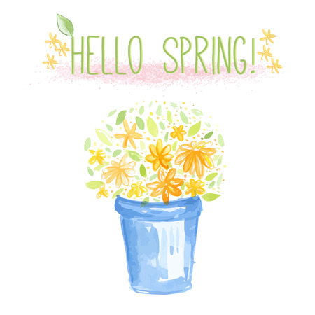 Blue bucket with orange and yellow flowers  Vector watercolor illustration with  Hello Spring  text  Vector