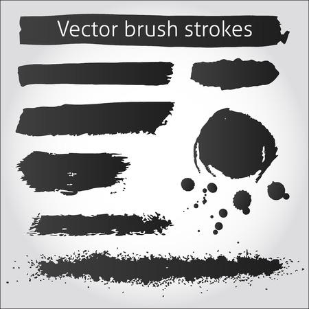 Set van back vector grunge inkt beroertes en vlek