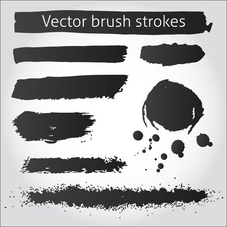 Set of back vector grunge ink strokes and blot