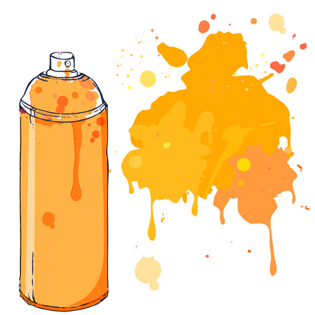 Orange graffiti paint can with splash  Vector illustration  Vector