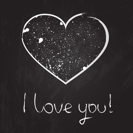 Vector chalk heart illustration on the blackboard with text I love you