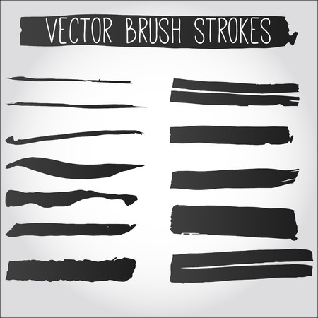 Big set of grunge brush strokes. Collection of black vector ink strokes. Çizim