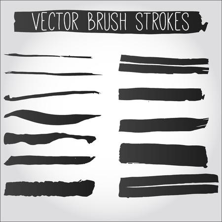 Grote verzameling van grunge penseelstreken. Collectie van zwarte vector inkt beroertes.